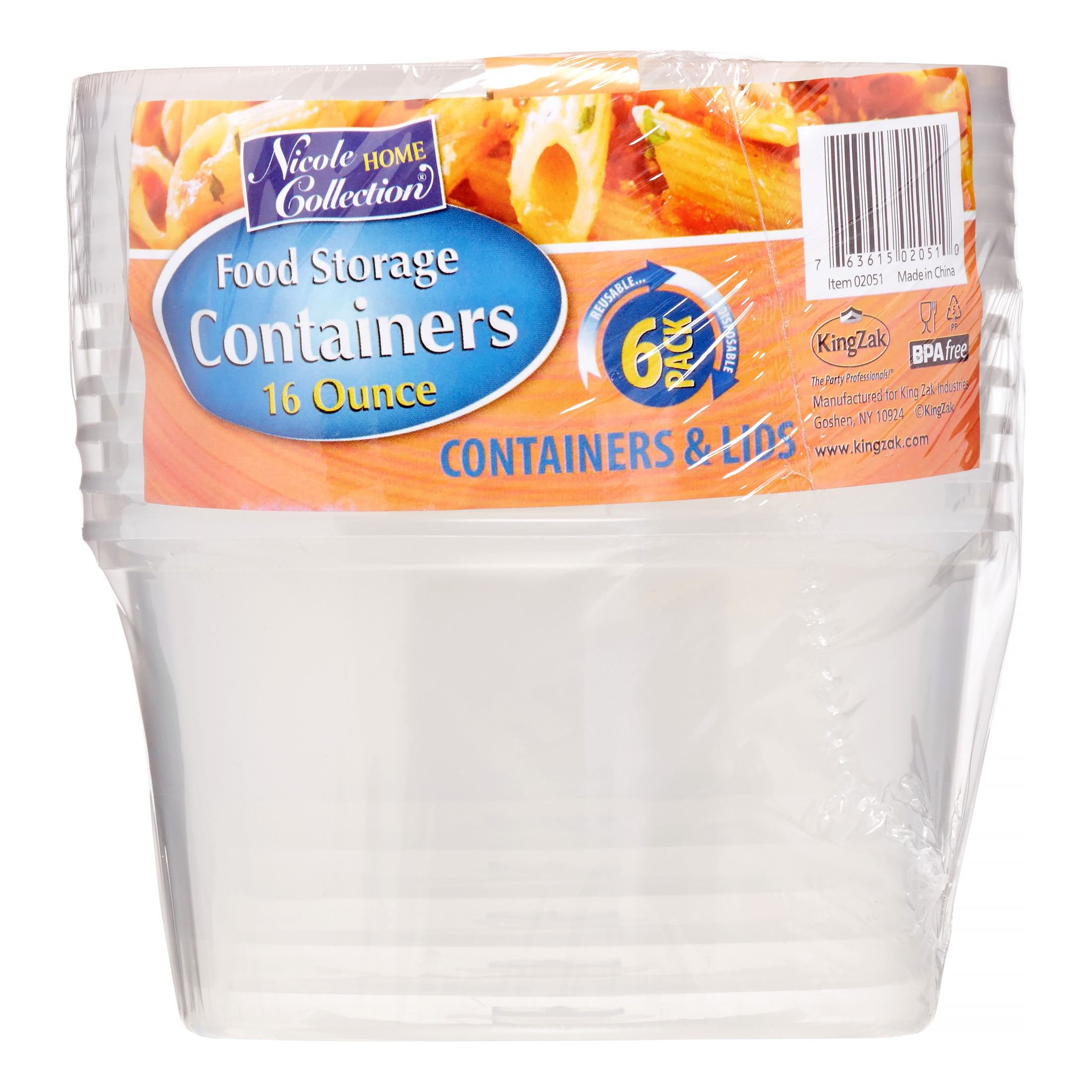 Nicole Home Collection Containers with Lids, Round, 16 Oz, Clear, 6 Ct