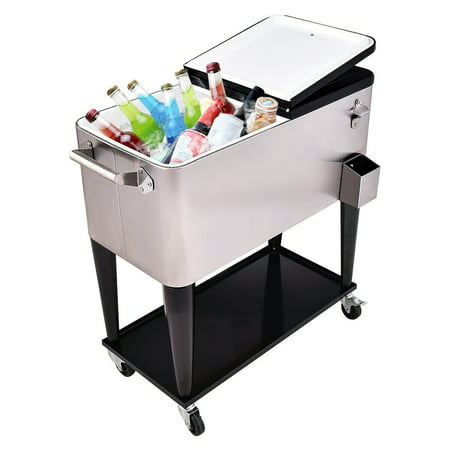 Costway Patio Cooler Rolling Outdoor Stainless Steel Ice Beverage Chest Pool 80 Quart ()