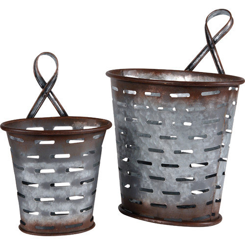 Wilco Home Metal Olive Wall Bucket (Set of 2)