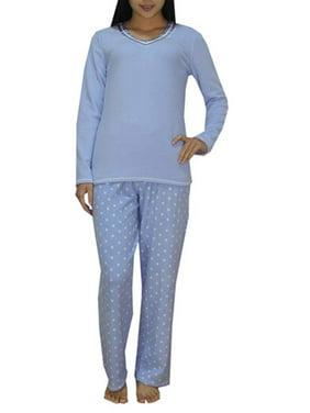 Aria Ladies' Micro Spandex Pajama Set - Blue Dot (M)
