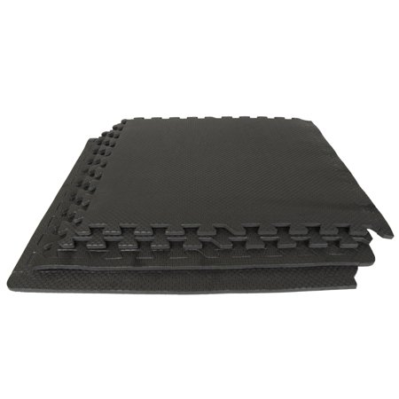 Best Step Interlocking Anti-Fatigue Flooring Tiles for Home Gyms, Exercise Rooms, P90X, Yoga, Gymnastics, Martial Arts. Water-Resistant Durable Foam Tiles with Microban – Covers 32 sq ft, Made in (Best Flooring For Basement Workout Room)