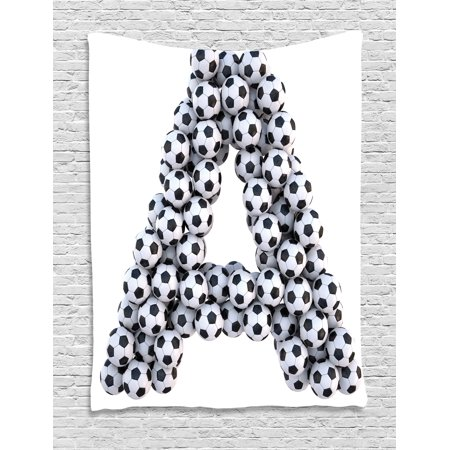Letter A Tapestry, Realistic Soccer Balls in form of Capital A Sports Play League Competition Theme, Wall Hanging for Bedroom Living Room Dorm Decor, Black White, by Ambesonne - Sports Theme Decor