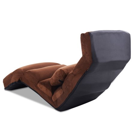 Folding Lazy Sofa Chair Stylish Sofa Couch Beds Lounge Chair W/ Pillow  Coffee