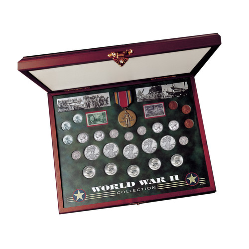 American Coin Treasures Comprehensive World War II Coin & Stamp Display Box Set