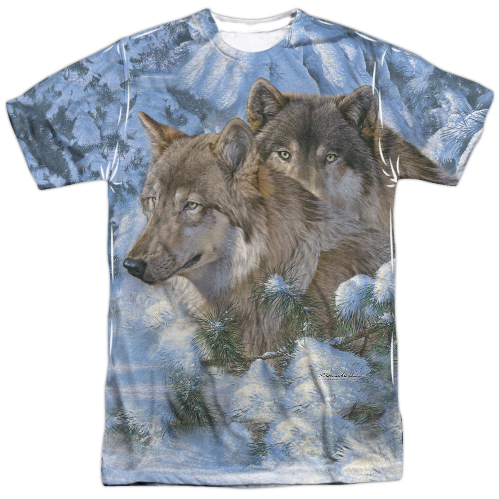 Wild Wings Animals Habitats Wolf Pack Winter's Warmth Adult 2-Sided Print TShirt