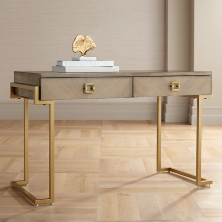 "Coast to Coast Wheaton 49 1/2"" Wide Gold and Wood Glam Modern Writing Desk"