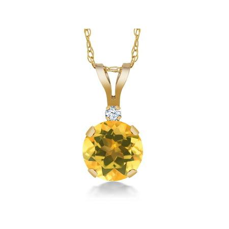 0.72 Ct Round Yellow Citrine White Created Sapphire 14K Yellow Gold Pendant - image 4 de 4