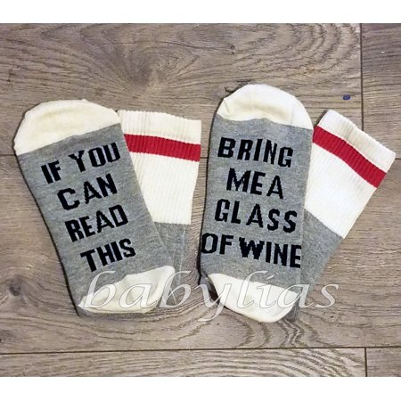 If You Can Read This Bring Me A Glass Of Wine Socks Embroidered Cotton Men Women Calcetines (Bring Me A Glass Of Wine Socks)