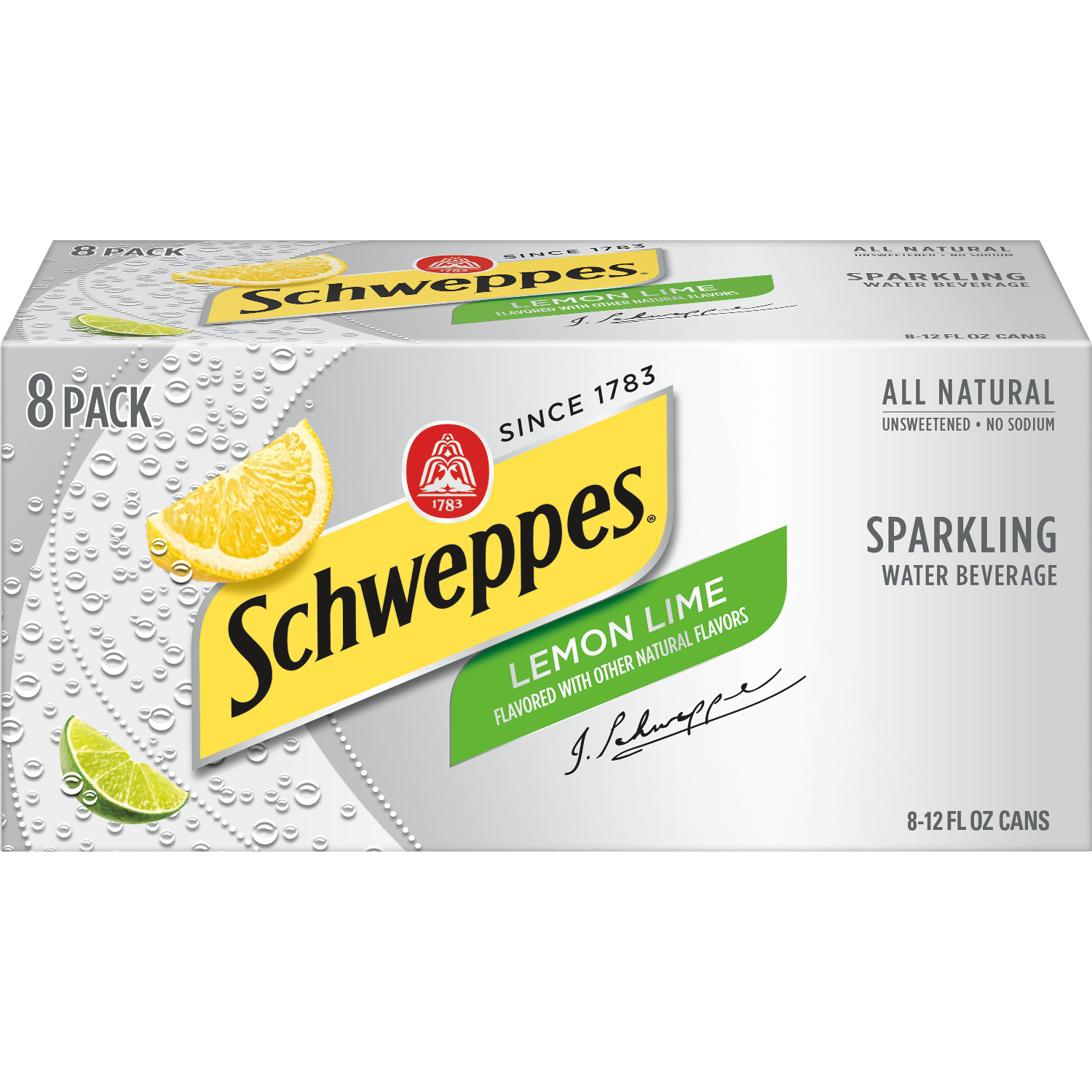 Schweppes Sparkling All Natural Lemon Lime Water, 12 Fl. Oz., 8 Count