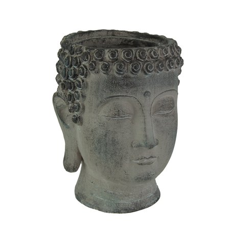 Aged Grey Stone Finish Ceramic Buddha Head Planter
