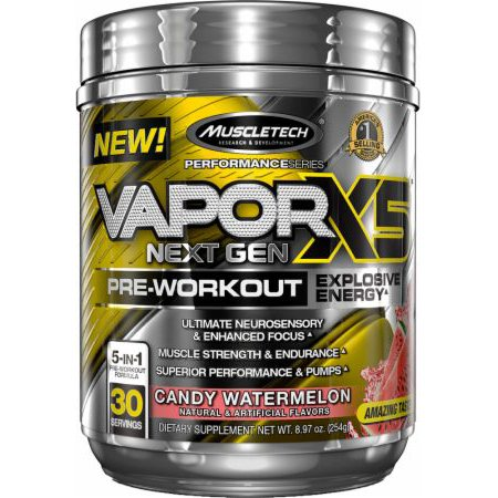 MuscleTech Vapor X5 Next Gen Explosive Energy Pre Workout Powder, Candy Watermelon, 30