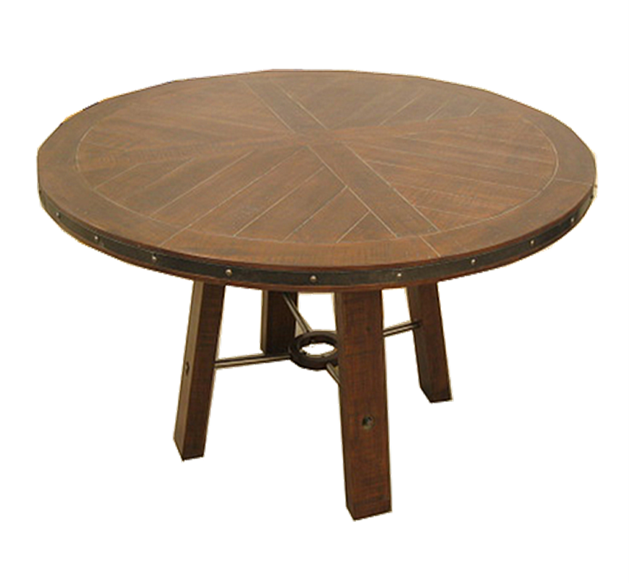 Emerald Home Castlegate Pine Brown Round Dining Table with Pieced, Plank Style Top And Metal Bracing by Emerald Home Furnishings, LLC