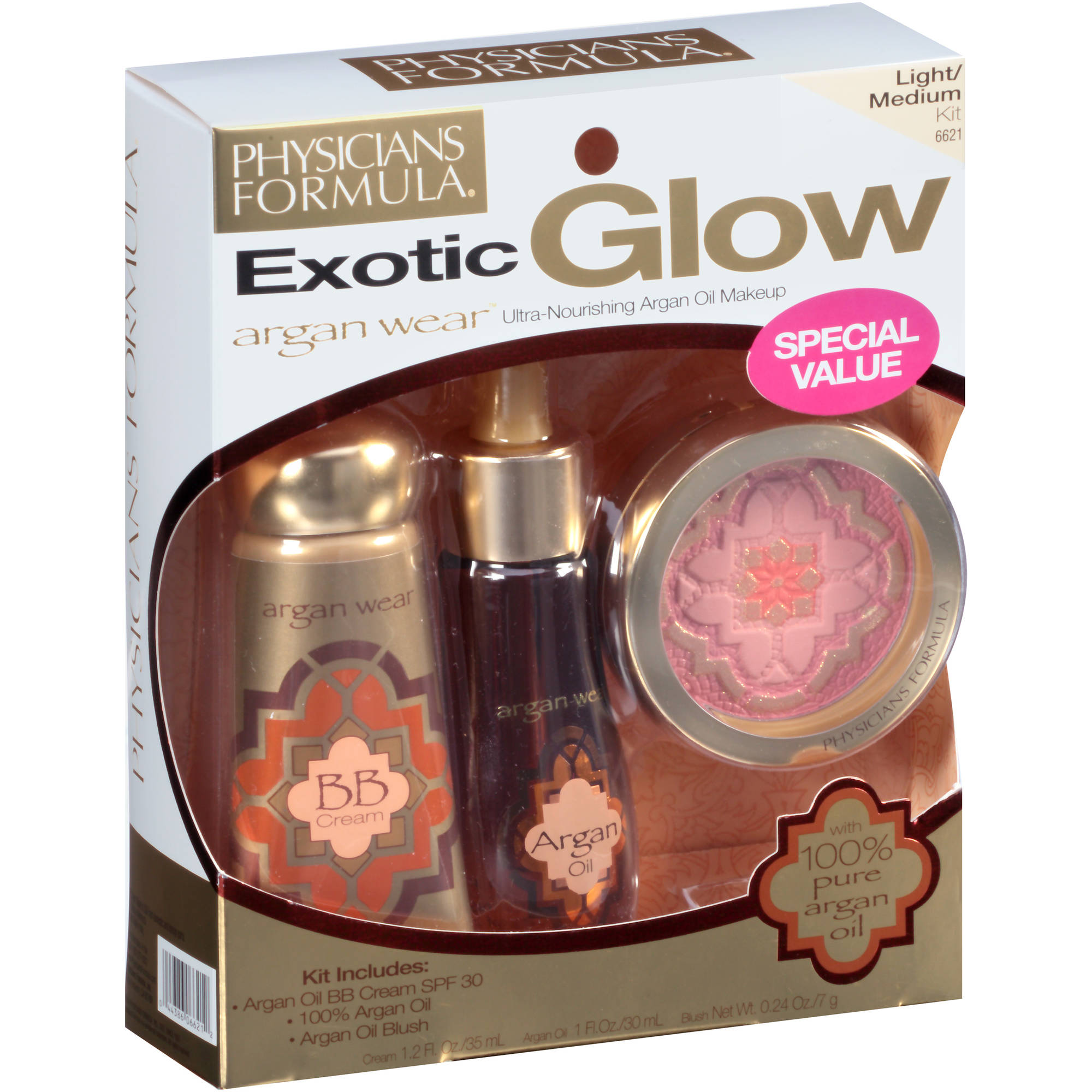 Physician's Formula Argan Wear Exotic Glow Ultra-Nourishing Makeup Kit, Light/Medium 6621C, 3 pc