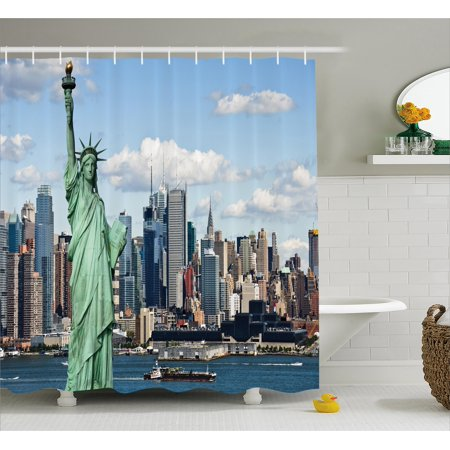 New York Shower Curtain, Statue of Liberty in NYC Harbor Urban City ...