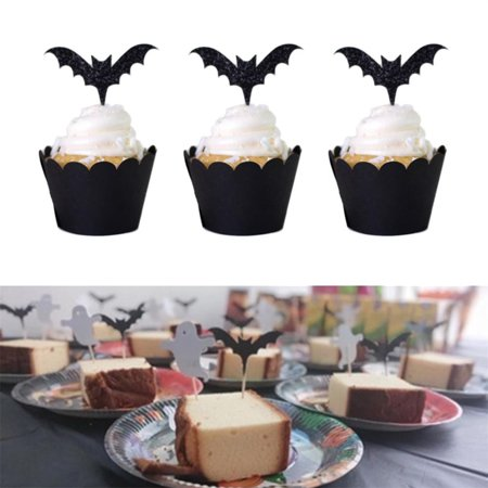12pcs Halloween Bat Card Cake Decoration Party Cake Insert Decoration Supplies - Bts Halloween Party