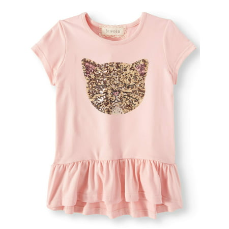 Btween Sequin Kitty Ruffle Hem Top (Little Girls)