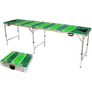 Football Tailgate Beer Pong Table, Bottle Opener, Ball Rack, and 6 Pong Balls, 8' Long By Red Cup Pong