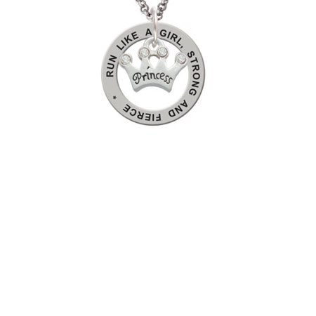 Silvertone Small ''Princess'' Crown with Clear Crystals Run Like A Girl Affirmation Ring Necklace