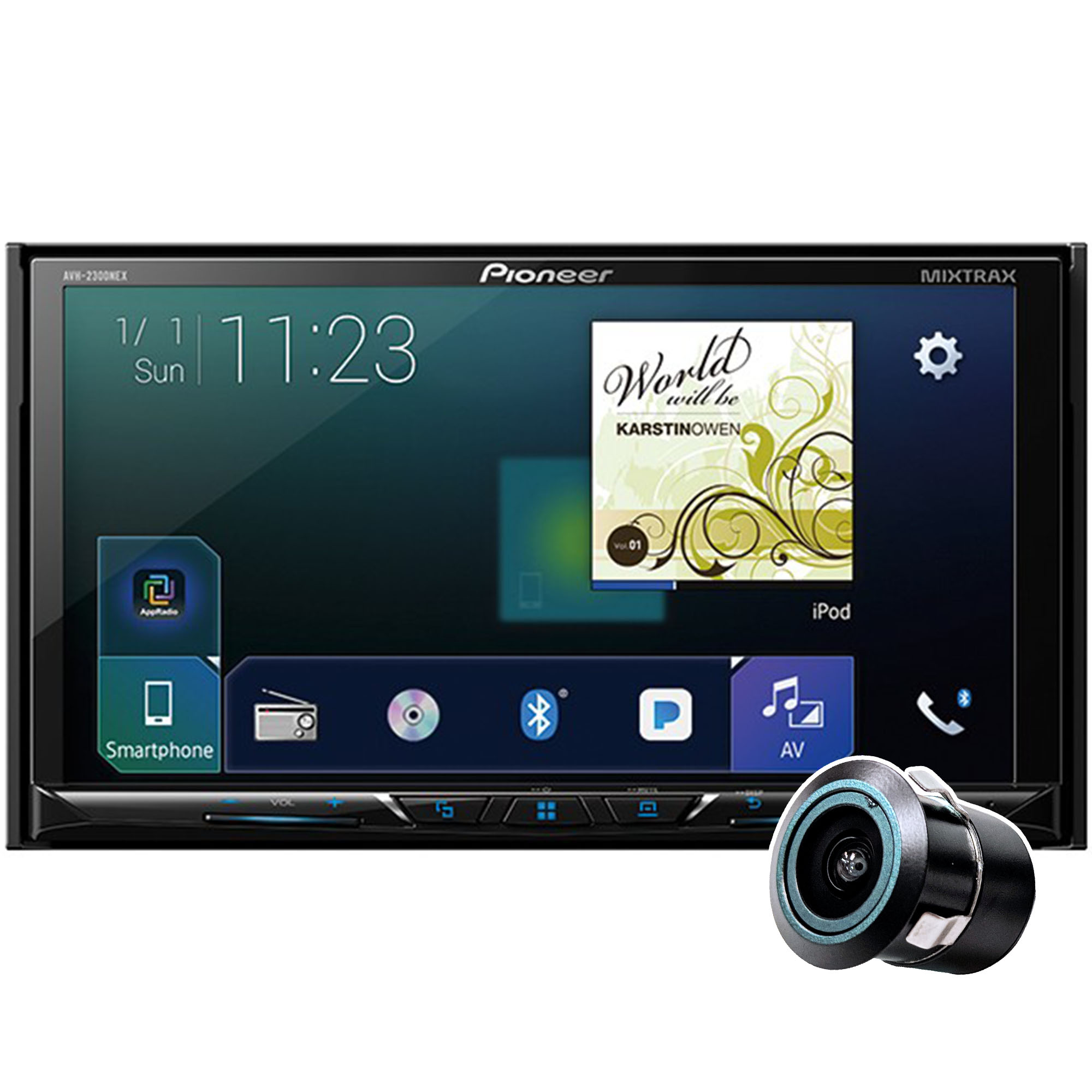 """Pioneer AVH-2300NEX with Free Bullet Backup Camera! Multimedia DVD Receiver with 7"""" WVGA Display, Apple CarPlay, Android Auto, Built-in Bluetooth, SiriusXM-Ready and AppRadio Mode +"""