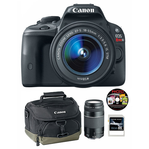 Canon Black EOS Rebel SL1 18MP Digital SLR Camera Kit, Includes 18-55mm and 75-300mm Lenses