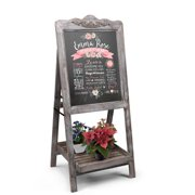 A-Frame Chalkboard Sign Rustic Wooden Sidewalk Easel Chalk Stand - Slatted Tray Freestanding Sturdy Sandwich Board Double Sided Message Display - Vintage Restaurant Chalkboard for Cafe & Bar