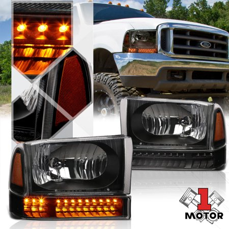 99 F350 Headlights >> Black Housing Headlight Amber Corner Led Signal For 99 04 F250 F350 Super Duty 00 01 02 03
