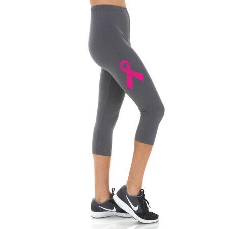 Women's Breast Cancer Ribbon Printed Cropped CAPRI Leggings - Regular PLUS and 3X5X Capri Print Leggings
