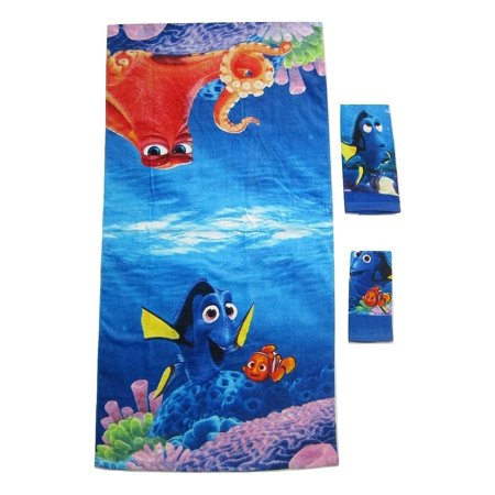 (3 Pieces Disney Pixar FINDING DORY 100% Cotton Bath, Hand, and Fingertip Towel Set)