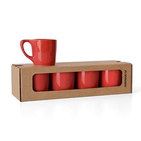 notNeutral LINO 10 oz Porcelain Coffee Cups | for Specialty Coffee Drinks, Latte, Cappuccino, Mocha and Tea | for Personal, Restaurant, Commercial Use | Rhubarb Red Set of