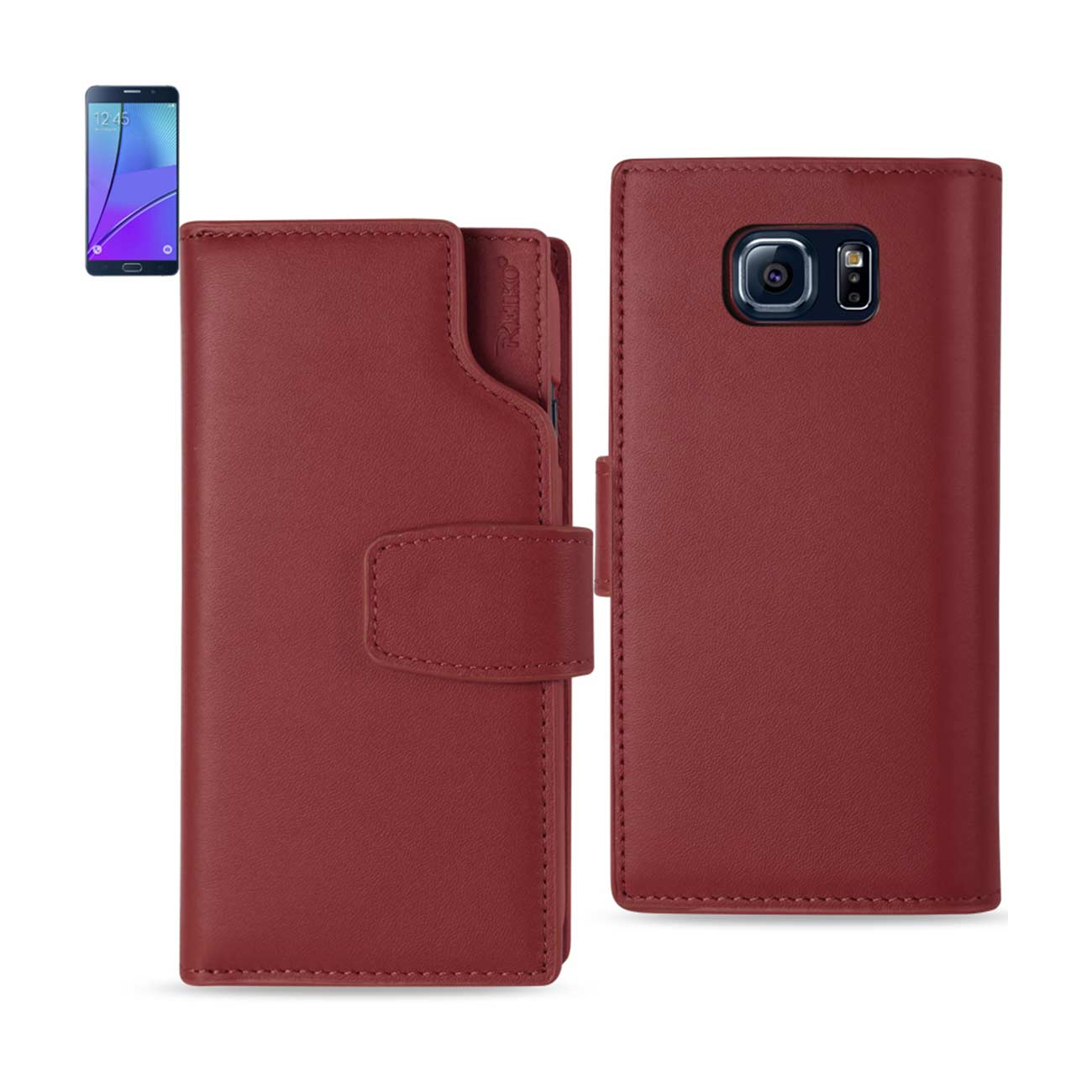 SAMSUNG GALAXY NOTE 5 GENUINE LEATHER WALLET CASE WITH OPEN THUMB CUT