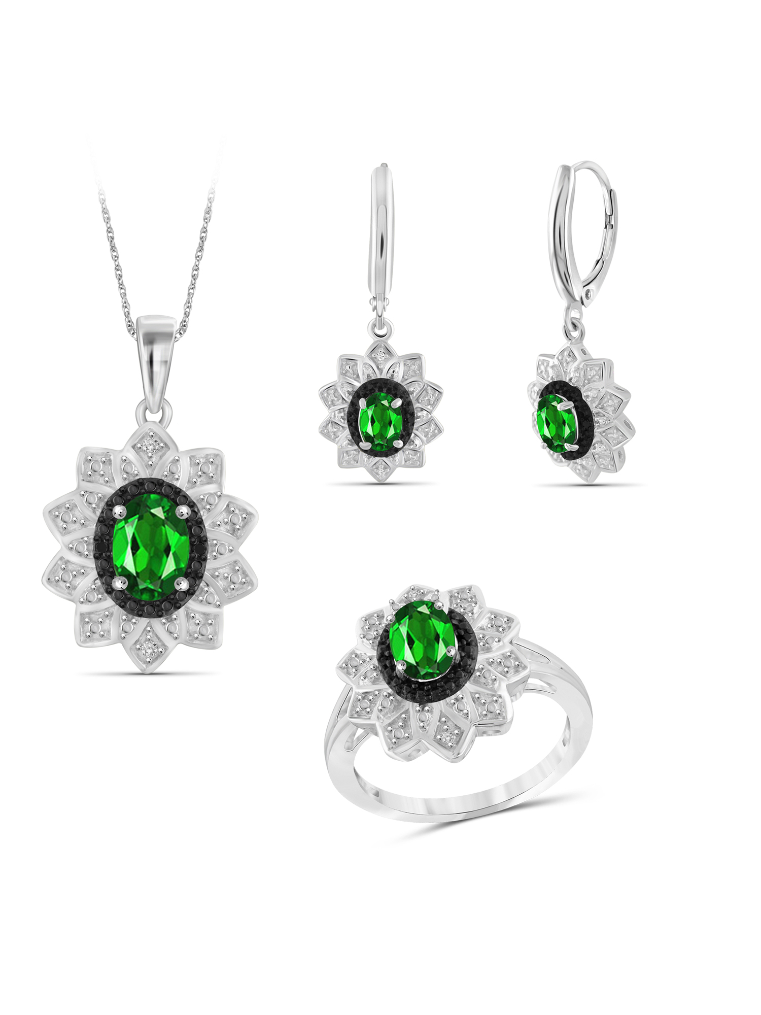 2 3/4 Carat T.G.W. Chrome Diopside And Black & White Diamond Accent Sterling Silver 3-Piece Jewelry set