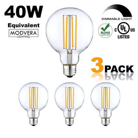 3 Pack Modvera G25 Led Globe Light Bulb 40 Watt Equivalent Uses Only 4 Watts 420lm 2700k Dimmable G80 Clear Gl Ul Listed Rohs Compliant