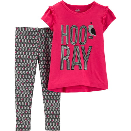 Child of Mine by Carter's Short Sleeve Graphic T-Shirt & Leggings, 2-Piece Outfit Set (Toddler Girls) - Short Girls Tube