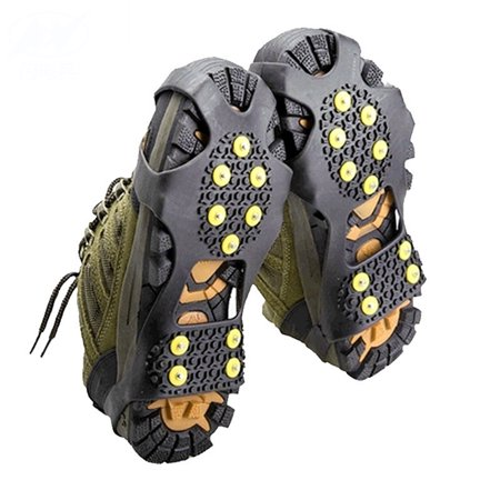 - Outdoor 10-Stud Nonslip Footwear Rubber Spikes Slip-on Stretch Crampons Ice and Snow Grips 10 teeth M code