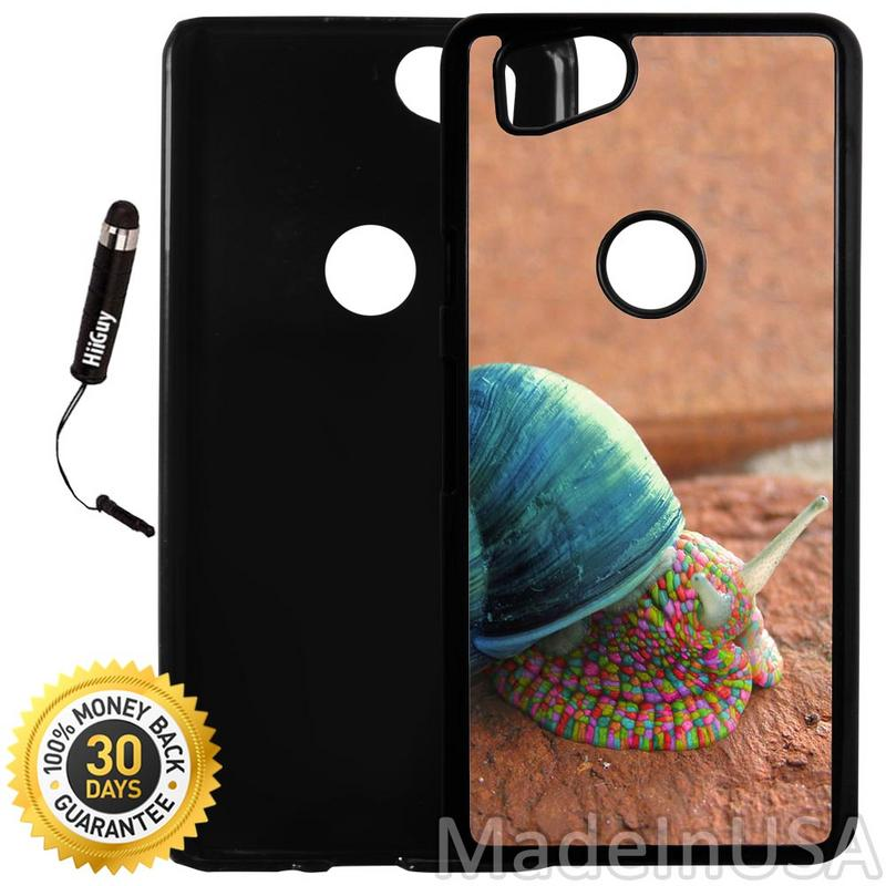 Custom Google Pixel 2 Case (Abstract Psychedelic Snail Art) Plastic Black Cover Ultra Slim | Lightweight | Includes Stylus Pen by Innosub