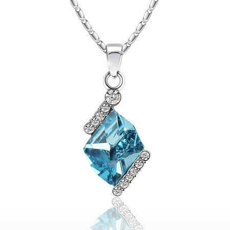 Swarovski Gold Tone Necklace - Diamond Cut Elegant Swarovski Elements Crystal White Gold Plated Women's Pendant Necklace - (Blue)