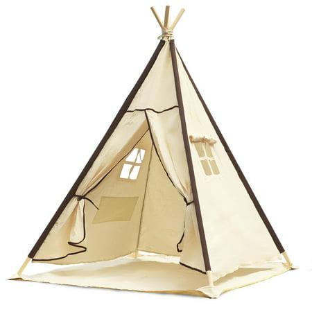 Lavievert Indian Canvas Teepee Children Playhouse Kid Play Tent