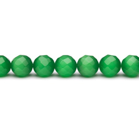 Emerald Green Cat's Eye Beads Faceted Round Fiber Optic Glass Beads 16mm - Green Beads