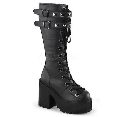 ASST202 BVL Blk Vegan Leather Demonia Vegan Boots Womens Size: 6 by