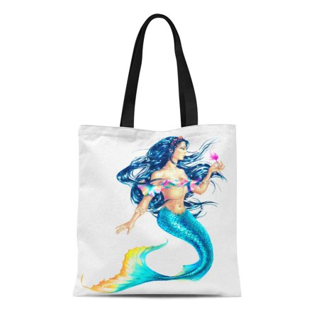 NUDECOR Canvas Tote Bag Tail Watercolor Hand Paint Mermaid Holding Flower on Fish Durable Reusable Shopping Shoulder Grocery Bag - image 1 de 1