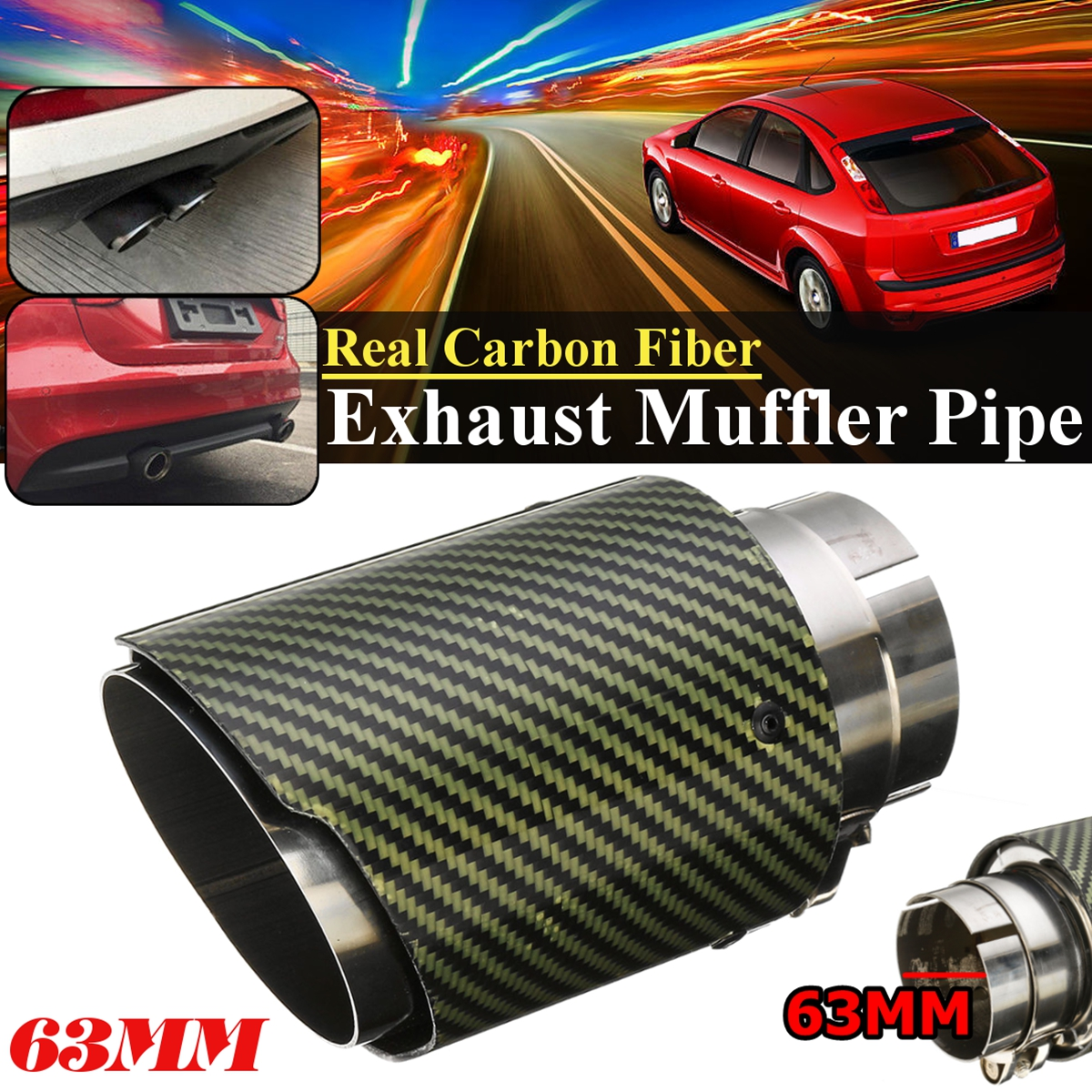 1x Real Carbon Fiber Auto Car Exhaust Pipe Tail Muffler End Tip 63mm In-89mm Out