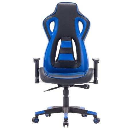 Killbee Swivel Reclining Racing Style Gaming Chair Pvc Leather Executive Office Blue