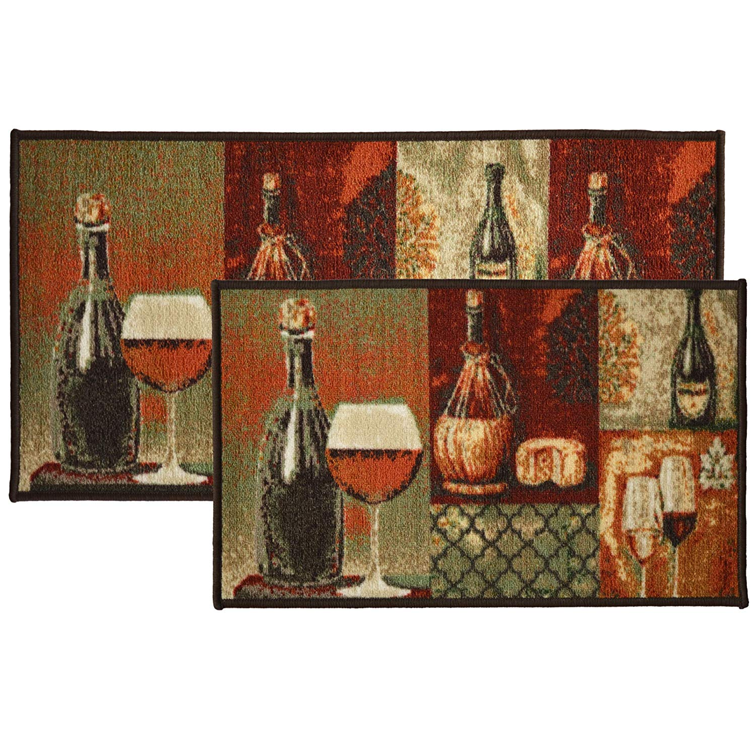 non skid latex back PRINTED NYLON KITCHEN RUG The Pecan Man WINE BOTTLES /& FRUITS ,1Piece 18x30
