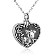 SHIYAO Elephant Urn Necklace for Ashes Cremation Jewelry Pendant Keepsake for Human Ashes Pet Eternity Memorial Gift for Women Men(Mother and Child Elephant)