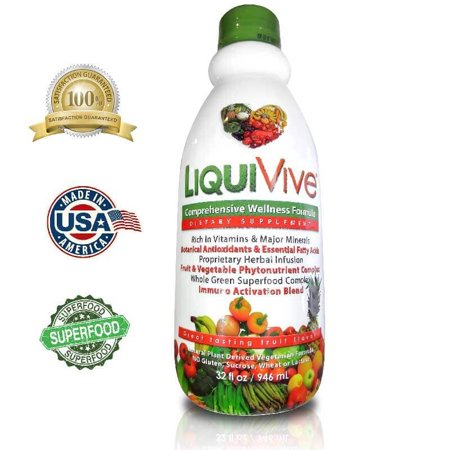LiquiVive Liquid Vitamins Nutritional Supplements. Best Anti-Aging Whole Food Daily Multivitamin Dietary Supplement. 32 fl