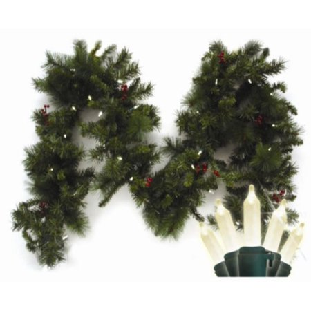 9 pre lit led battery operated anchorage fir christmas garland warm white lights - Battery Operated Christmas Garland