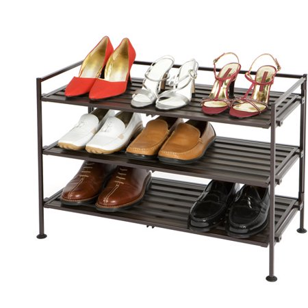 Seville Classics 3-Tier Resin Slat Utility Shoe Rack, Espresso