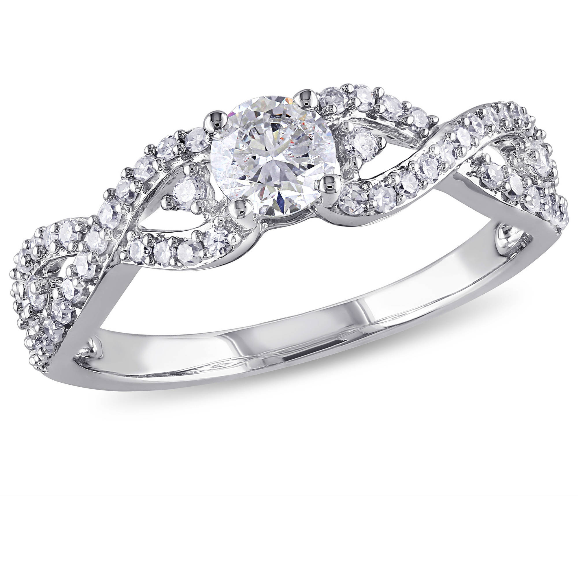 Miabella 3 4 Carat T.W. Diamond 14kt White Gold Infinity Engagement Ring by Generic