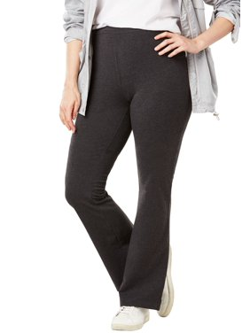1d3e04a3e06 Product Image Woman Within Plus Size Stretch Cotton Bootcut Yoga Pant