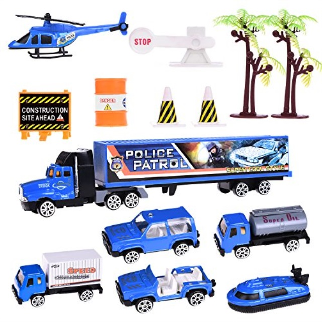 Police Car Toys with 7 Police Diecast Cars,Road Block Accessories for Kids Police Games, Goody Bag Stuffers, Classroom Prizes, Pinata Filler, Party Favors for Kids